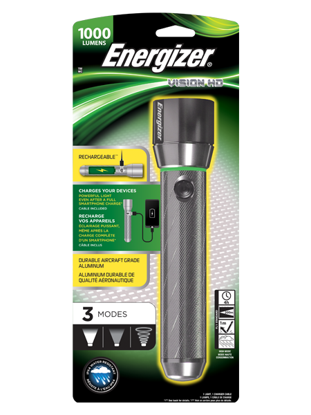 Energizer Vision HD Rechargeable LED Metal Torch