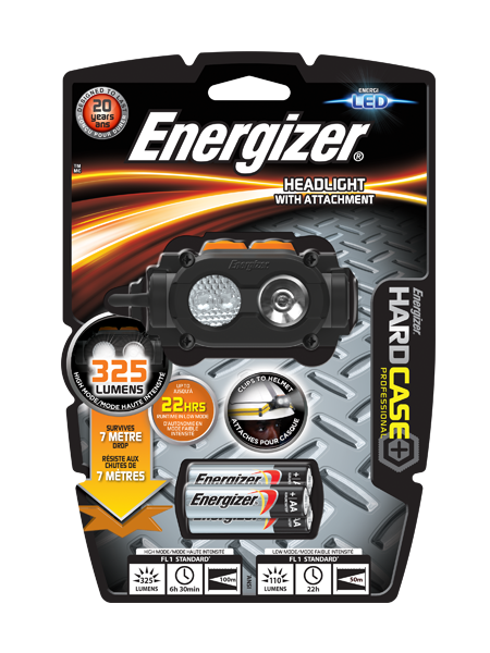 Energizer® Hard Case Headlight With Attachment